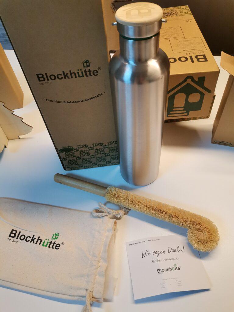 Blockhütte Inhalt Trinkflasche
