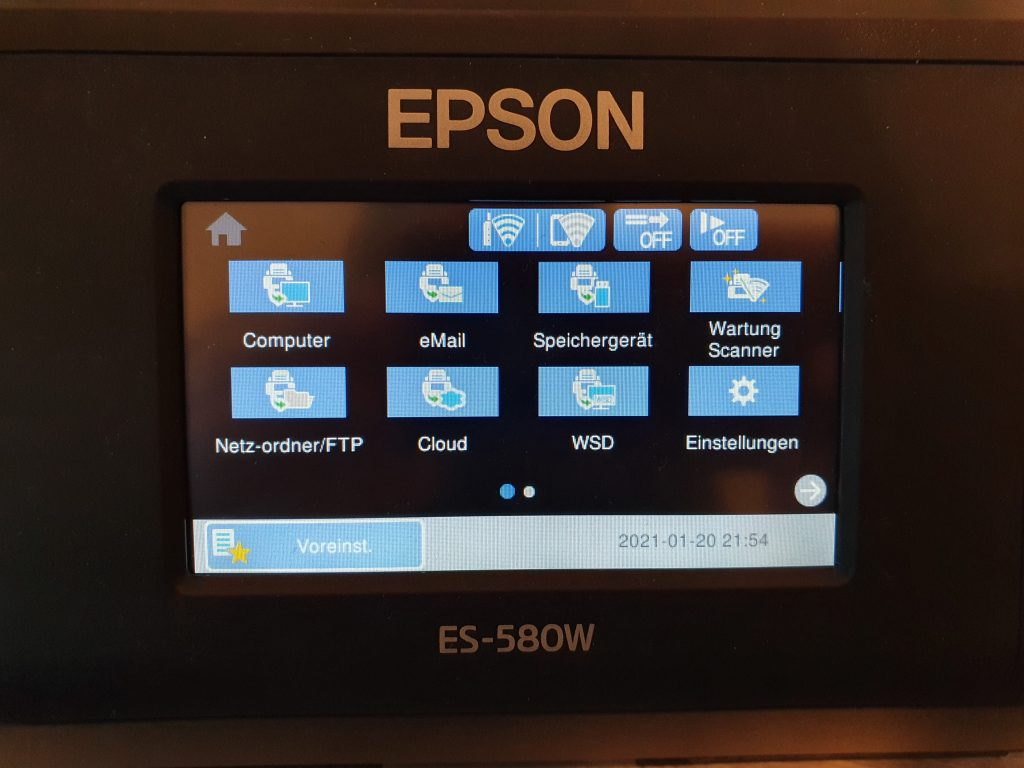 Menü des Epson ES-580W Dokumentenscanner