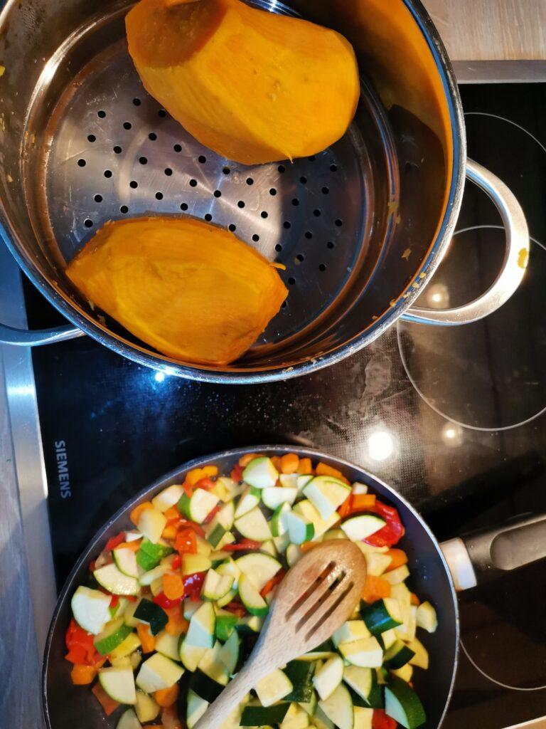 Süßkartoffeln mit Gemüse