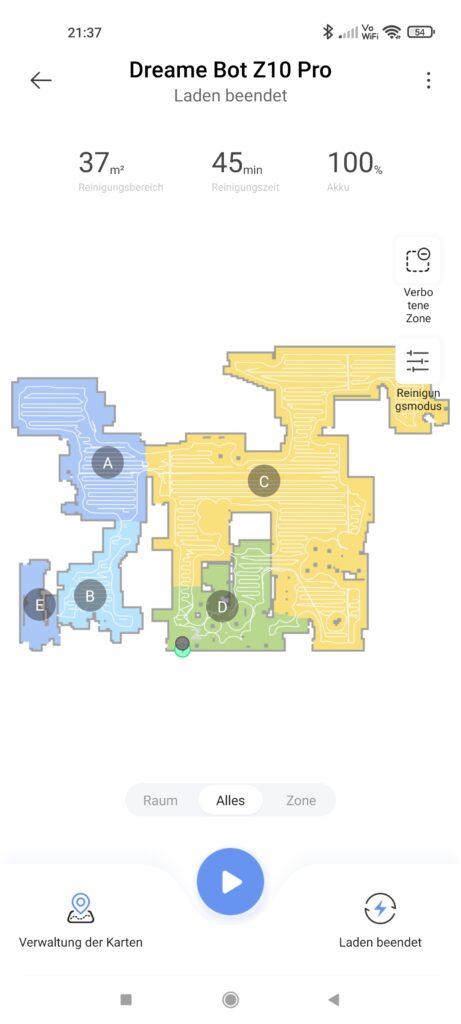 Räume nach dem Scannen